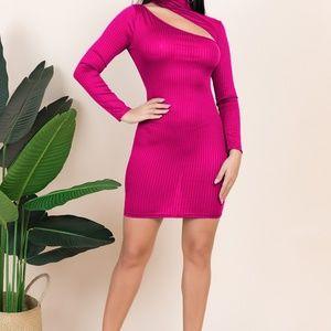 stretch high neck dress